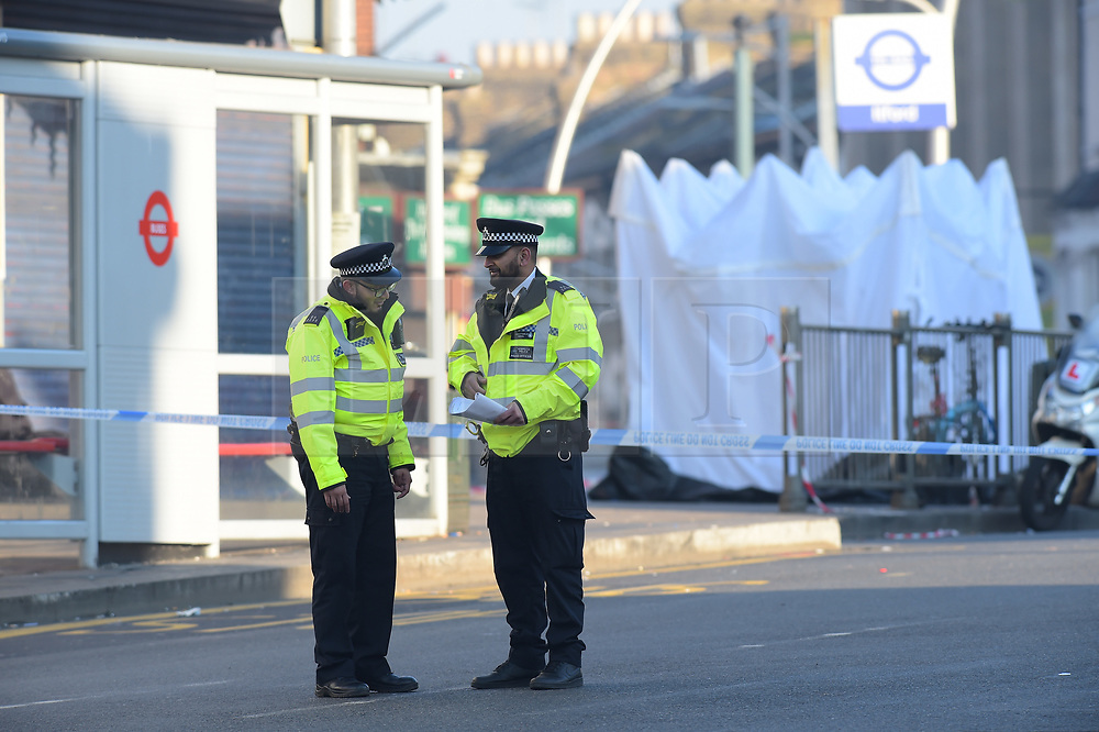 © Licensed to London News Pictures. 27/02/2019. London UK: Police in Cranbrook road, Ilford, east London outside Ilford train station where a male in his twenties was fatally stabbed yesterday evening at around 9 pm following a fight nearby , Photo credit: Steve Poston/LNP