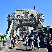 London, celebrates London hosting of UEFA EURO 2020 including both semi finals and the final with thousands of poster laid along Tower Bridge on 13th June 2021, London, UK