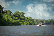 View of a tourboat sailing in the San Juan River and a rainforest on the bank, Nicaragua