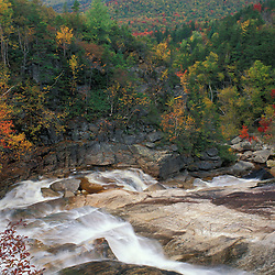 Thoreau Falls in the White Mountain National Forest. Pemigewasset Wilderness Area. Appalachian Trail. Fall Foliage. Lincoln, NH