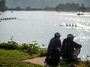 Linz, Austria, Saturday, 31st Aug 2019, FISA World Rowing Championship, Coaches sitting and watching the morning training, Boat Park Area, [Mandatory Credit; Peter SPURRIER/Intersport Images]<br /> 08:48:32  31.08.19