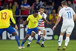 March 21, 2019 - Orlando, FL, U.S. - ORLANDO, FL - MARCH 21: United States midfielder Tyler Adams (14) battles with Ecuador midfielder Renato Ibarra (5) in game action during an International friendly match between the United States and Ecuador on March 21, 2019 at Orlando City Stadium in Orlando, FL. (Photo by Robin Alam/Icon Sportswire) (Credit Image: © Robin Alam/Icon SMI via ZUMA Press)