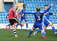 Football - 2020 / 2021 Emirates FA Cup - Round 2 - Gillingham vs Exeter City - Priestfield Stadium<br /> <br /> Exeter City's Nicholas Law scores his side's equalising goal to make the score 1-1.<br /> <br /> COLORSPORT/ASHLEY WESTERN