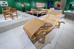 """© Licensed to London News Pictures. 17/06/2021. LONDON, UK. (C) """"Adjustable reclining chair in bamboo"""", 1940.  Preview of """"Charlotte Perriand: The Modern Life"""" exhibition at the Design Museum in Kensington. Charlotte Perriand's (1903-1999) pioneering furniture designs shaped the 20th century and helped define the modern interior.  The exhibition marks the 25th anniversary of her first exhibition at the Design Museum in 1996 and runs 19 June to 5 September 2021.  Photo credit: Stephen Chung/LNP"""