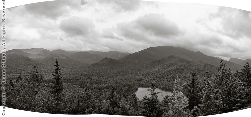 Heart Lake and panorama of High Peaks in the Adirondack Mountains.
