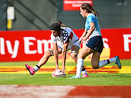 USA's Lauren Doyle scores the first try of the match for the USA  during the Emirates Dubai rugby sevens match between USA and Russia  at the Sevens Stadium, Al Ain Road, United Arab Emirates on 1 December 2016. Photo by Ian  Muir.*** during the Emirates Dubai rugby sevens match between *** and ***  at the Sevens Stadium, Al Ain Road, United Arab Emirates on 1 December 2016. Photo by Ian  Muir.