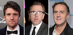 File photos of (from the left) Greg James, Tim Roth and Angus Deayton.