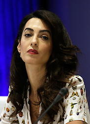 September 20, 2016 - New York, New York, United States of America - Lebanese-British lawyer, Amal Clooney attends a Private Sector Call to Action Leaders Summit for Refugees during the United Nations 71st session of the General Debate at the United Nations General Assembly at United Nations headquarters in New York, New York, USA, 20 September 2016..Credit: Peter Foley / Pool via CNP (Credit Image: © Peter Foley/CNP via ZUMA Wire)