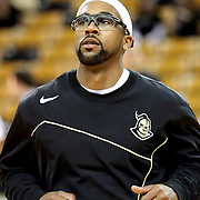 Central Florida guard Marcus Jordan (5) warms up prior to a Conference USA NCAA basketball game between the Marshall Thundering Herd and the Central Florida Knights at the UCF Arena on January 5, 2011 in Orlando, Florida. Central Florida won the game 65-58 and extended their record to 14-0.  (AP Photo/Alex Menendez)