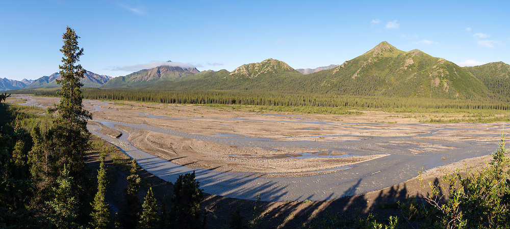 Panoramic view of Teklanika River, Denali National Park, Alaska.