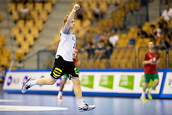 Dimitri Ignatow of Germany celebrates goal during handball match between National teams of Germany and Portugal in game for Third place of 2018 EHF U20 Men's European Championship, on July 29, 2018 in Arena Zlatorog, Celje, Slovenia. Photo by Urban Urbanc / Sportida