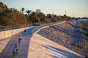 Bicycle path along Los Angeles River near WIllow Street, Long Beach, California, USA