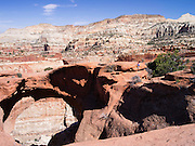 A young girl (MR available) climbs down from sandstone. Scene from Cassidy Arch, Capitol Reef National Park, Utah.