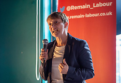 © Licensed to London News Pictures. 21/05/2019. Bristol, UK. CLARE MOODY, Labour's no.1 MEP candidate for south west England, speaks at a Remain Labour rally at the The Love Inn on Stokes Croft organised by the Remain Labour group as part of campaigning in the elections for the European Parliament. Speakers included Labour's Deputy Leader Tom Watson, Paul Mason and MEP south west England candidates Clare Moody and Andrew Adonis. Photo credit: Simon Chapman/LNP
