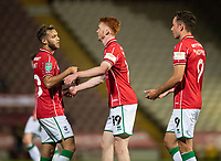 Lincoln City's Callum Morton, centre, celebrates scoring his side's fifth goal with team-mate Jorge Grant, left, and Tom Hopper<br /> <br /> Photographer Chris Vaughan/CameraSport<br /> <br /> Carabao Cup Second Round Northern Section - Bradford City v Lincoln City - Tuesday 15th September 2020 - Valley Parade - Bradford<br />  <br /> World Copyright © 2020 CameraSport. All rights reserved. 43 Linden Ave. Countesthorpe. Leicester. England. LE8 5PG - Tel: +44 (0) 116 277 4147 - admin@camerasport.com - www.camerasport.com