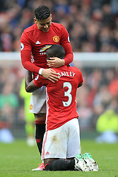 16th April 2017 - Premier League - Manchester United v Chelsea - Eric Bailly of Man Utd hugs teammate Marcos Rojo as they celebrate victory - Photo: Simon Stacpoole / Offside.