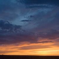 Sunset over the Gobi Desert near Dalanzadgad, Mongolia.