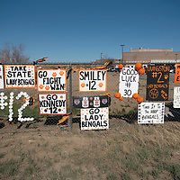 Signs decorate the fence at Gallup High School for the Lady Bengals before their New Mexico Class 4A girls basketball quarterfinal game against the Highland Hornets Tuesday in Gallup. The Bengals defeated the Hornets 53-51 to advance to the semifinals.