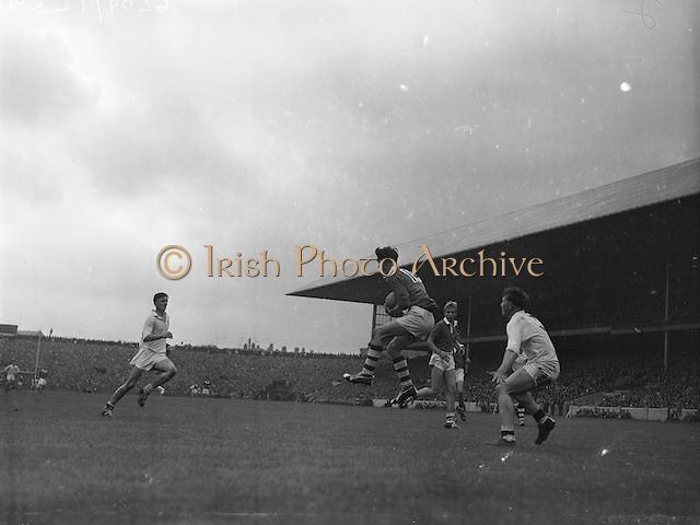 Cork full forward D.Moynihan gains possession of the ball near the Galway goal during the All Ireland Minor Gaelic Football Final Cork v. Galway in Croke Park on the 26th September 1960.