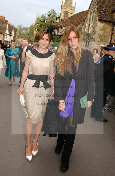 Left to right, SHEHERAZADE GOLDSMITH and KATE GOLDSMITH at the wedding of Laura Parker Bowles to Harry Lopes held at Lacock, Wiltshire on 6th May 2006.<br /><br />NON EXCLUSIVE - WORLD RIGHTS