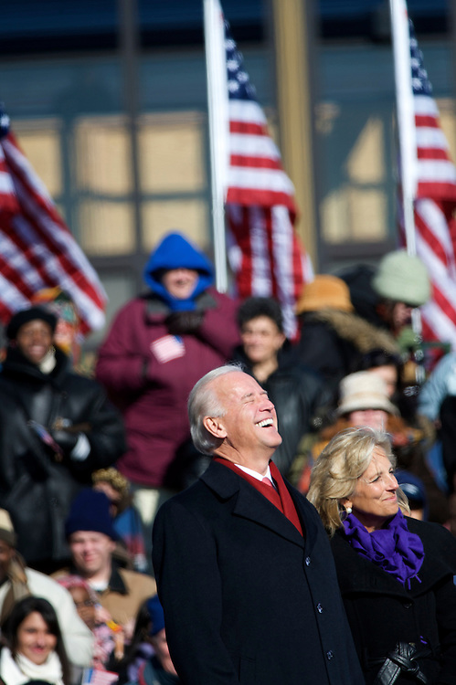Vice President-elect Biden and his wife react to the crowd during a pre-inauguration rally with President-elect Obama in Wilmington, Delaware, where a crowd of thousands braved sub-zero temperatures to lend their support.  Obama, Biden and their families traveled by train on a Whistle Stop Tour, opening Inauguration celebrations with rallies in Philadelphia, Wilmington, and Baltimore before their final arrival in Washington, D.C.  The inauguration takes place on January 20, 2009, swearing Obama in as the 44th President of the United States of America.¬? ?Ä®