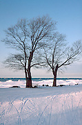 Lake Superior south shore near the Porcupines in the winter. Bessemer Michigan USA