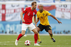 Harry Kane of England, Vincent Kompany of Belgium during the 2018 FIFA World Cup Play-off for third place match between Belgium and England at the Saint Petersburg Stadium on June 26, 2018 in Saint Petersburg, Russia