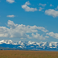 Montana's Crazy Mountains rise above pastures in the Shields Valley.