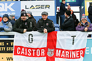 Grimsby Town Supporters during the EFL Sky Bet League 2 match between Mansfield Town and Grimsby Town FC at the One Call Stadium, Mansfield, England on 4 January 2020.