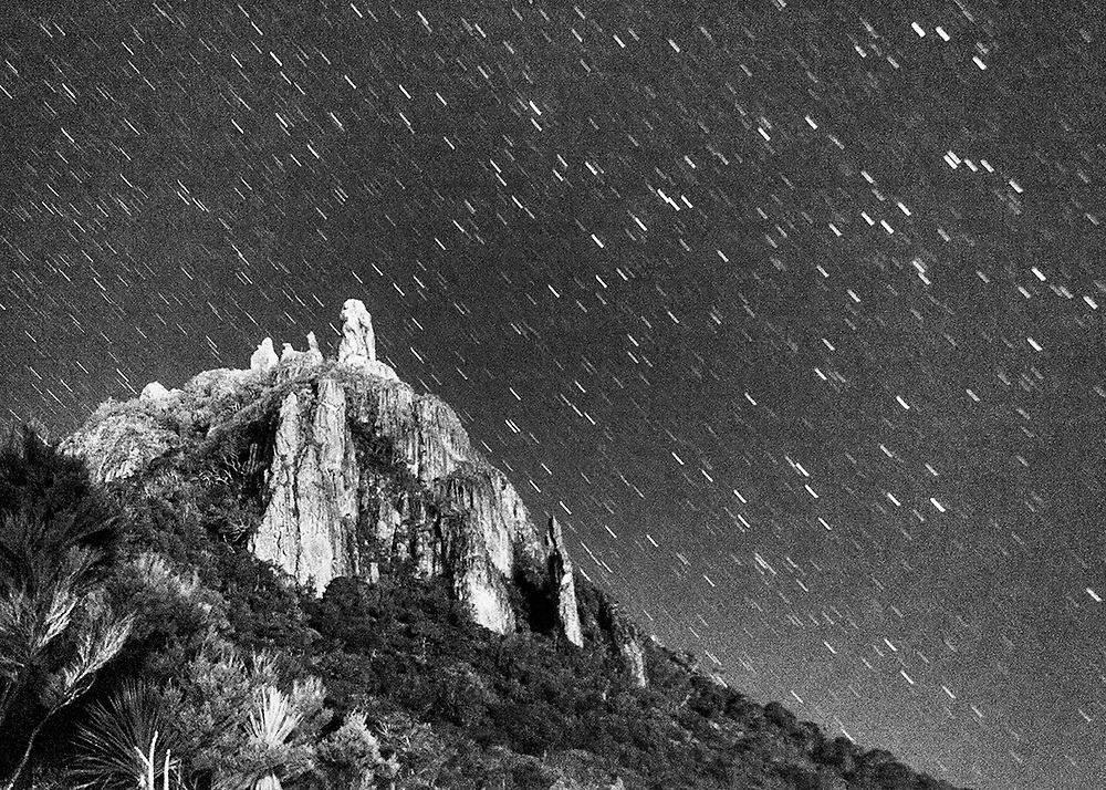 Star trails Mt Manaia (delayed exposure)<br />