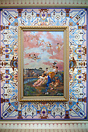 Romantic style painting above the stairway at the Achilleion  [ Achilles, ???????? ]  Palace [ 1890 built by Elizabeth [ Sissi ] Emperess of Austria .<br /> <br /> If you prefer to buy from our ALAMY PHOTO LIBRARY  Collection visit : https://www.alamy.com/portfolio/paul-williams-funkystock/corfugreece.html <br /> <br /> Visit our GREECE PHOTO COLLECTIONS for more photos to download or buy as wall art prints https://funkystock.photoshelter.com/gallery-collection/Pictures-Images-of-Greece-Photos-of-Greek-Historic-Landmark-Sites/C0000w6e8OkknEb8