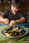 USA_GoFish_060809_499_rwx.tif Fresh mussel dish with lemon grass and coconut milk prepared by chef Cindy Pawlcyn for her Go Fish restaurant in the Napa Valley.