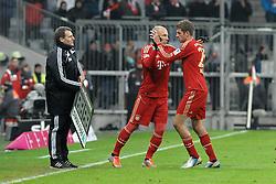 19-01-2013 VOETBAL: FC BAYERN MUNCHEN - GREUTHER FUERTH: MUNCHEN<br /> Arjen Robben en  Thomas MUELLER<br /> ***NETHERLANDS ONLY***<br /> ©2013-FotoHoogendoorn.nl