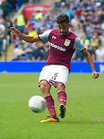 Football - 2017 / 2018 Championship - Cardiff City vs. Aston Villa<br /> <br /> <br /> Neil Taylor of Aston Villa passes the ball, at Cardiff City Stadium<br /> <br /> COLORSPORT/WINSTON BYNORTH