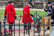 Chelsea pensioners and men in bowlers - The Duke of Edinburgh, Life Member, Royal British Legion, accompanied by Prince Harry, visit the Field of Remembrance at Westminster Abbey  - 10 November 2016, London.