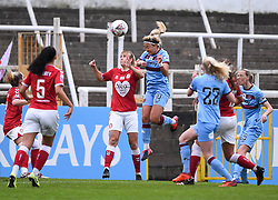 Gemma Evans of Bristol City Women contends for the aerial ball with Cho So-hyun of West Ham United Women  - Mandatory by-line: Ryan Hiscott/JMP - 13/12/2020 - FOOTBALL - Twerton Park - Bath, England - Bristol City Women v West Ham United Women - Barclays FA Women's Super League