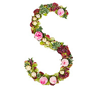 Capital Letter S Part of a set of letters, Numbers and symbols of the Alphabet made with flowers, branches and leaves on white background
