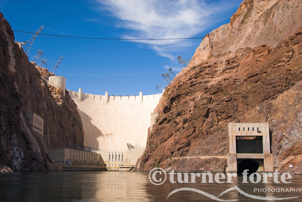 The Hoover Dam viewed from The Colorado River and The Black Canyon, Nevada.
