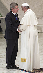 October 5, 2016 - Vatican City, Vatican - Pope Francis greets International Olympic Committee President Thomas Bach during the opening ceremony of the International conference ''Sport at the Service of Humanity'', the first global conference on faith and sport promoted by the Vatican Pontifical Council for Culture, in the Paul VI hall in Vatican City, Vatican on October 05, 2016. (Credit Image: © Giuseppe Ciccia/Pacific Press via ZUMA Wire)