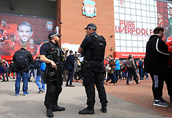 Police presence before the Premier League match at Anfield, Liverpool.