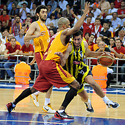 Fenerbahce Ulker's Roko Leni UKIC (R) during their Turkish Basketball league Play Off Final third leg match Galatasaray between Fenerbahce Ulker at the Abdi Ipekci Arena in Istanbul Turkey on Thursday 09 June 2011. Photo by TURKPIX