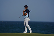 Adrien Saddier (FRA) on the 18th green during Round 4 of the Oman Open 2020 at the Al Mouj Golf Club, Muscat, Oman . 01/03/2020<br /> Picture: Golffile   Thos Caffrey<br /> <br /> <br /> All photo usage must carry mandatory copyright credit (© Golffile   Thos Caffrey)
