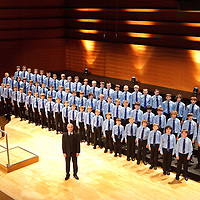 The NYCoS National Boys Choir ( blue shirts) , Horsecross, Perth, April 2009. Conducted by Christopher Bell ( Artistic Director and Conductor)..3rd April 2009...© Drew Farrell    Tel :  07721-735041.If you require any more information please contact Ruth Townsend @The National Youth Choir of Scotland Tel : 0141 287 2856.Note to Editors:  This image is free to be used editorially in the promotion of The National Youth Choir of Scotland. Without prejudice ALL other licences without prior consent will be deemed a breach of copyright under the 1988. Copyright Design and Patents Act  and will be subject to payment or legal action, where appropriate.....