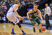 April 4, 2016; Indianapolis, Ind.; Jenna Buchanan drives past Tess Bruffey in the NCAA Division II Women's Basketball National Championship game at Bankers Life Fieldhouse between UAA and Lubbock Christian. The Seawolves lost to the Lady Chaps 78-73.