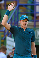Kyle Edmund of Great Britain waves to the crowd after winning his match during the Nature Valley International at Devonshire Park, Eastbourne, United Kingdom on 27 June 2018. Picture by Martin Cole.
