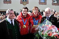 24.02.2010, Fulpmes/Tirol, AUT, Skispringer Empfang, im Bild Teamolympiasieger, Kofler Andreas und Schlierenzauer Gregor, EXPA Pictures © 2010, PhotoCredit: EXPA/ D. Liebl / SPORTIDA PHOTO AGENCY.