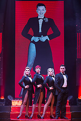 """© Licensed to London News Pictures. 17/06/2015. London, UK. L-R. Georgina Hagen, Rachel Stanley, Louise Dearman and Ray Quinn. UK premiere of """"Judy - The Songbook of Judy Garland"""" - a show celebrating the classic songs of Judy Garland - opens at the New Wimbledon Theatre, London before a UK tour. The show runs from 16 to 20 June 2015. Photo credit : Bettina Strenske/LNP"""