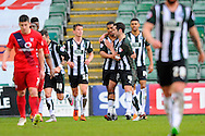 Goal.  Plymouth Argyle's Reuben Reid celebrates scoring a penalty to give the home team a 2-0 lead during the Sky Bet League 2 match between Plymouth Argyle and York City at Home Park, Plymouth, England on 28 March 2016. Photo by Graham Hunt.