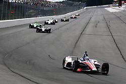 August 19, 2018 - Long Pond, Pennsylvania, United Stated - TONY KANAAN (14) of Brazil battles for position during the ABC Supply 500 at Pocono Raceway in Long Pond, Pennsylvania. (Credit Image: © Justin R. Noe Asp Inc/ASP via ZUMA Wire)