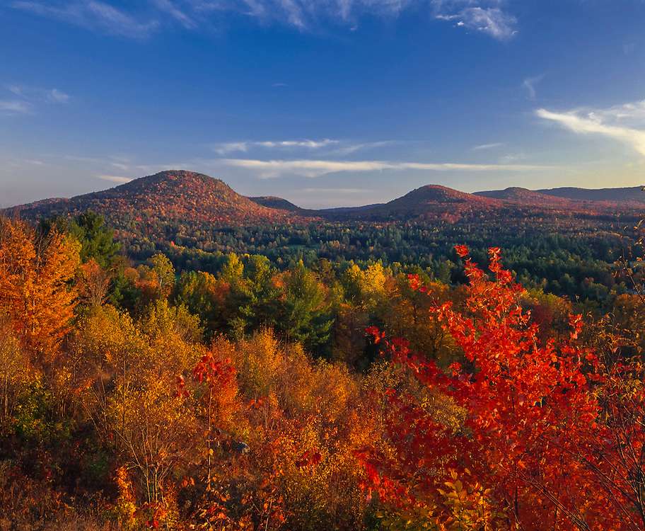 Rolling hills & Wells River Valley in fall color, Groton, VT